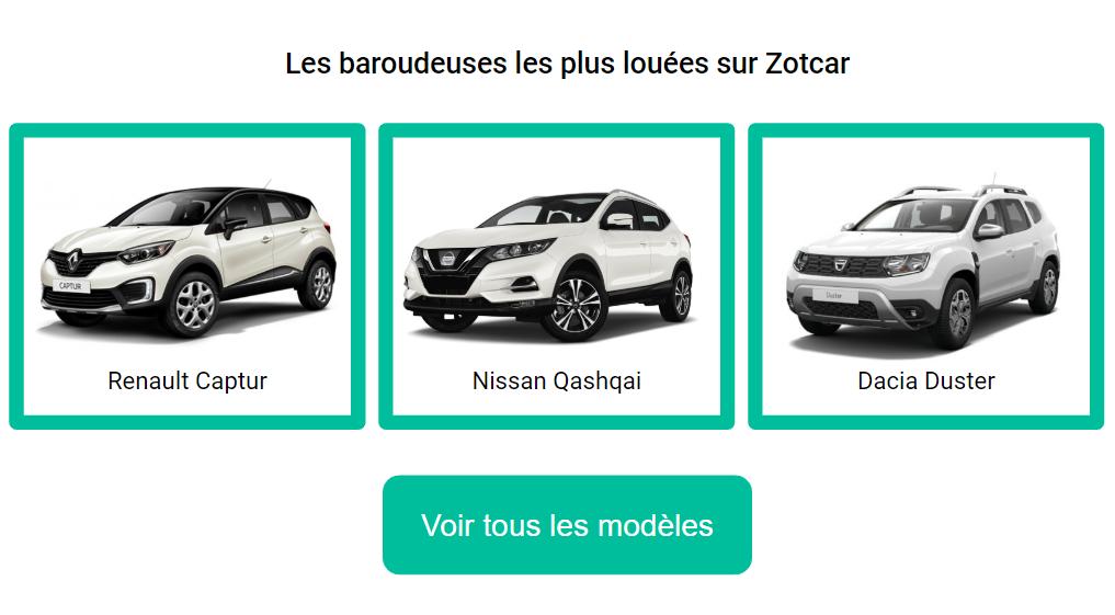 Les SUV les plus loués sur Zotcar : Dacia Duster, Renault Captur, Nissan Qashqai